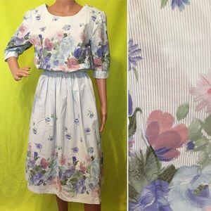 Vintage 1980s Floral Midi Dress